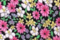 Coupon de tissu imprimé noir fleurs roses - 43 x 53 cm - Coupons de tissus - 10doigts.fr
