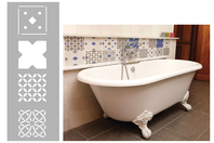 Pochoir carreaux de ciment - Set de 4 motifs - Pochoir frise - 10doigts.fr