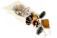 Pochon déco nature pomme de pin, aiguille, baie enneigée - Pommes de pin et brindilles - 10doigts.fr