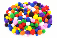 Pompons, couleurs vives et tailles assorties - Pompons - 10doigts.fr