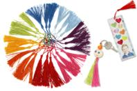 Pompons longs 8 couleurs - 24 pièces - Pompons, Plumes, Strass - 10doigts.fr