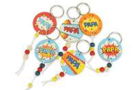 """Kit création de portes-clés papa """"Pop"""" - 6 réalisations - Bijoux, bracelets, colliers - 10doigts.fr"""