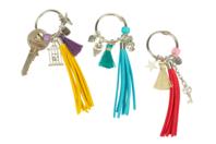 Porte-clés pompons colorés - Kit pour 3 réalisations - Porte-clefs, stylo-bille - 10doigts.fr