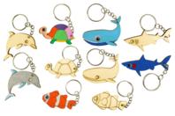 Porte-clefs en bois animaux de la mer - 5 animaux - Porte-clefs en bois - 10doigts.fr
