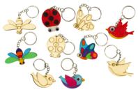 """Porte-clés en bois """"Printemps"""" - 5 animaux - Porte-clefs en bois - 10doigts.fr"""