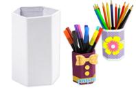 Pots à crayons hexagonaux en carton blanc - Pots, vases en carton - 10doigts.fr