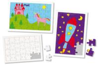 Puzzle 28 pièces en carton blanc à colorier, avec fond - Puzzles à colorier, dessiner ou peindre - 10doigts.fr