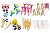 Outils de peinture : Maxi set 34 outils + cadeaux - Eponges - 10doigts.fr