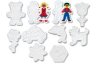 Set de 10 plaques fantaisie transparentes pour perles fusibles + CADEAU : 2 feuilles de papier sulfurisé - Plaques perles fusibles 5 mm - 10doigts.fr