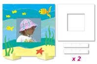Cadres photo carrés à colorier - Lot de 8 - Support blanc - 10doigts.fr