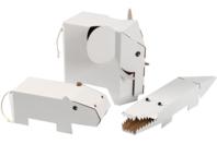 Animaux géants à décorer - Set de 3 - Support blanc - 10doigts.fr