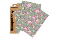 Papier Décopatch roses - 3 feuilles N°716 - Papiers Décopatch - 10doigts.fr