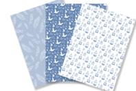 Papiers à encoller camaieu bleu - 3 feuilles - Papiers Vernis-collage - 10doigts.fr