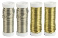 Fil métal épais Ø 0.6 mm - 4 bobines Or et Argent - Fils aluminium à modeler - 10doigts.fr