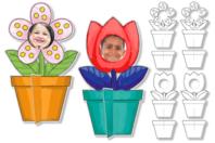Cadres photo fleurs à colorier - Set de 4 - Support pré-dessiné - 10doigts.fr