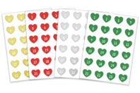 Stickers cœurs Calendrier de l'Avent - Set de 96 gommettes - Calendrier de l'avent - 10doigts.fr