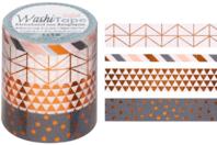 Masking tape géométriques - 4 rouleaux motifs métallisés - Rubans adhésifs et Masking tape - 10doigts.fr