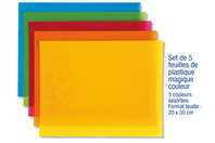 Plastique magique coloré - 5 couleurs - Feuilles plastique magique - 10doigts.fr