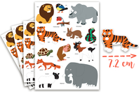 Maxi Gommettes animaux 1 - 4 Planches - Gommettes Animaux - 10doigts.fr