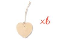 Étiquettes cœur en bois avec cordon et perle - Lot de 6 - Marque-Places et Etiquettes - 10doigts.fr