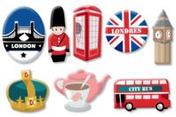"""Motifs """"Londres"""" en bois décoré - Set de 8 - Motifs peint - 10doigts.fr"""