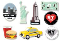 """Motifs """"New York"""" en bois décoré - Set de 8 - Motifs peint - 10doigts.fr"""