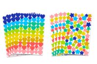 Gommettes étoiles et cœurs couleurs tendances - Coeurs autocollants - 10doigts.fr