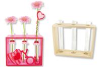 Socle en bois avec 3 soliflores en verre - Pot de fleurs - 10doigts.fr