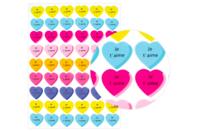 """Gommettes cœur """"Je t'aime"""" - 54 pièces - Coeurs autocollants - 10doigts.fr"""