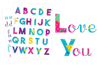 Stickers Alphabet coloré - 73 pces - Alphabets, Lettres, Chiffres - 10doigts.fr