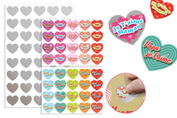 "Stickers cœurs ""Message d'amour"" à gratter - 40 pcs - Carte à gratter - 10doigts.fr"