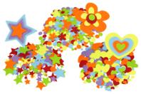 Stickers en feutrine - étoiles, coeurs, fleurs - Set de 150 - Stickers en feutrine - 10doigts.fr
