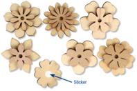 Stickers fleurs assorties - Set de 6 - Motifs brut - 10doigts.fr