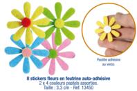 Stickers fleurs en feutrine auto-adhésive - Stickers en feutrine - 10doigts.fr