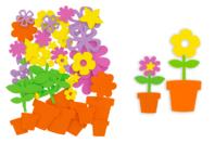 """Stickers en caoutchouc souple """"Pots de fleurs"""" à composer - Formes en Mousse autocollante - 10doigts.fr"""