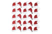 Stickers pailletés bonnet de Père Noël  - 25 pcs - Gommettes et stickers Noël - 10doigts.fr