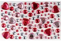 Strass rond et coeur rose - Set de 106 strass - Strass autocollant, cabochons autocollant - 10doigts.fr