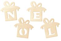 "Cadeaux ""NOEL"" en bois naturel - Set de 4 - Motifs brut - 10doigts.fr"