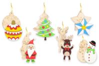 Suspensions de Noël en bois gravé - Set de 6 - Décoration du sapin - 10doigts.fr