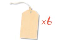 Étiquettes en bois avec cordon et perle - Lot de 6 - Marque-Places et Etiquettes - 10doigts.fr