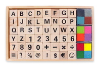 Tampons alphabet et chiffres + 12 encreurs - Tubo de tampons + encreurs - 10doigts.fr