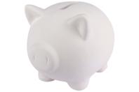 Tirelire cochon en terre cuite blanche - Supports en Céramique et Porcelaine - 10doigts.fr