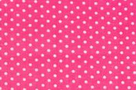 Coupon en coton imprimé : fond rose + pois blancs  - Coton, lin - 10doigts.fr