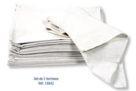 Torchons en coton blanc - Lot de 5 - Coton, lin - 10doigts.fr