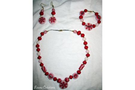 ensemble de bijoux soleil rouge - Fimo, Cernit - 10doigts.fr