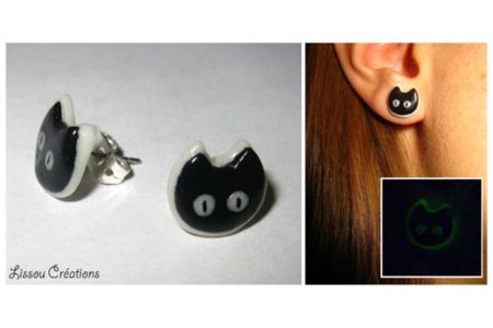 bo chats noir phosphorescent - Fimo, Cernit - 10doigts.fr