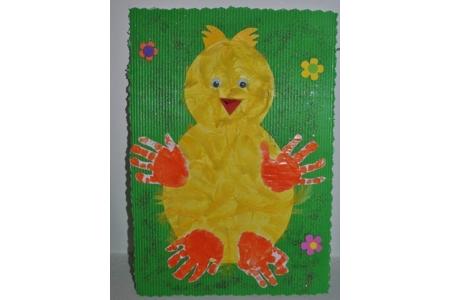 poussin avec empreintes de mains - Pâques, Noël - 10doigts.fr