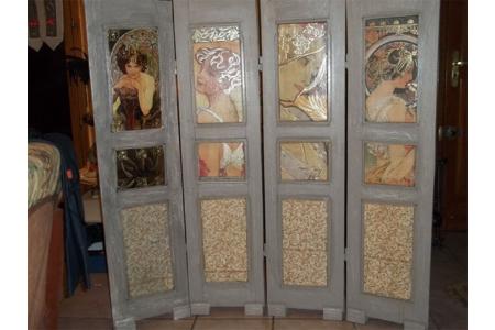 CREATION PARAVENT  - Vernis collage papiers, serviettes - 10doigts.fr
