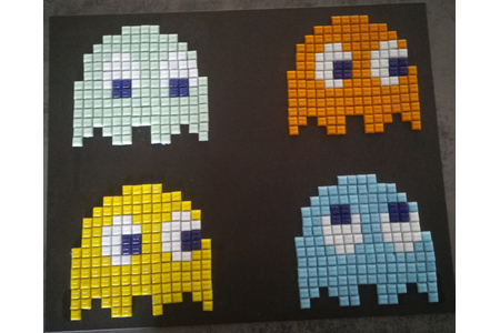 Pixel Art Pacman - Mosaïques - 10doigts.fr