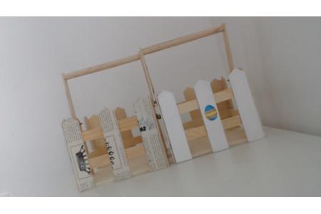 Panier en bois - Vernis collage papiers, serviettes - 10doigts.fr